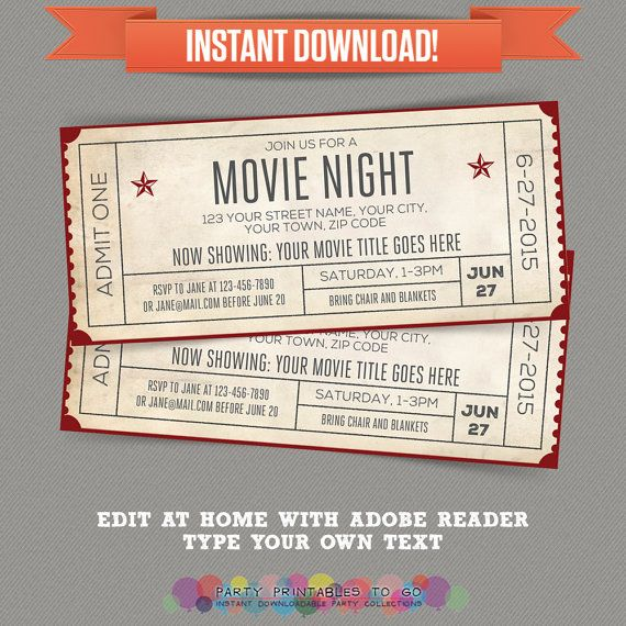 Movie Night Invitation with FREE Admission Tickets! Movie Night Party - Movie…