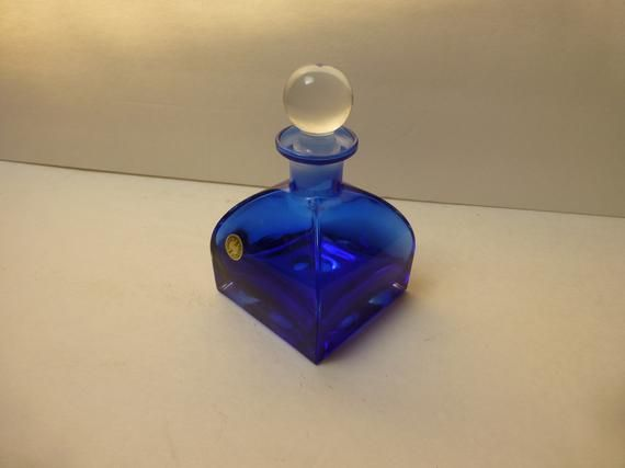 Cobalt blue square-based 70S perfume bottle clear crystal ball  stopper
