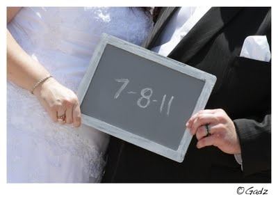 Chalkboard wedding photo!