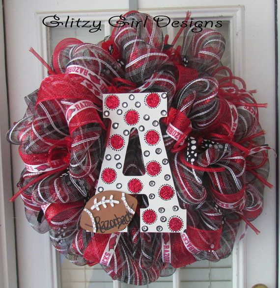 Bling Arkansas Razorback Wreath by GlitzyGirlDesigns on Etsy