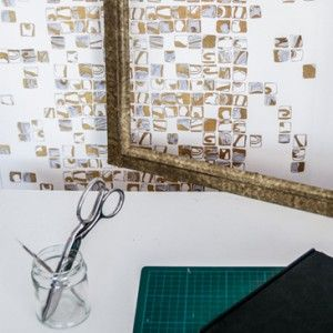 New Design Britain Award Winning Gold Mosaic wallpaper from Signature Collection by Patternation. Combines a mix of hand cut work, screen printing, photography and digital technology.