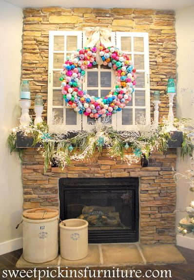 {Christmas 2012 Mantle} – with ornament wreath tutorial | Sweet Pickins Furniture