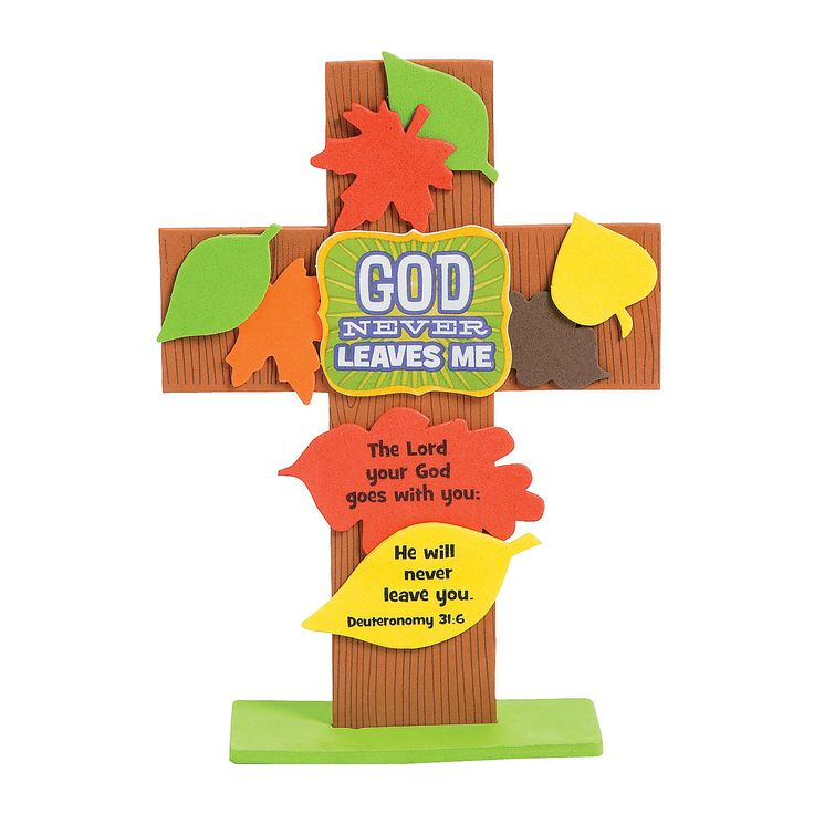 "God Never Leaves Me Cross Craft Kit Includes self-adhesive foam pieces and features the Bible verse Deuteronomy 31:6. 6"" x 8 1/4"" Makes 12. All craft kit pieces are pre-packaged for individual use. Kits include instructions and extra pieces. - Oriental Trading"