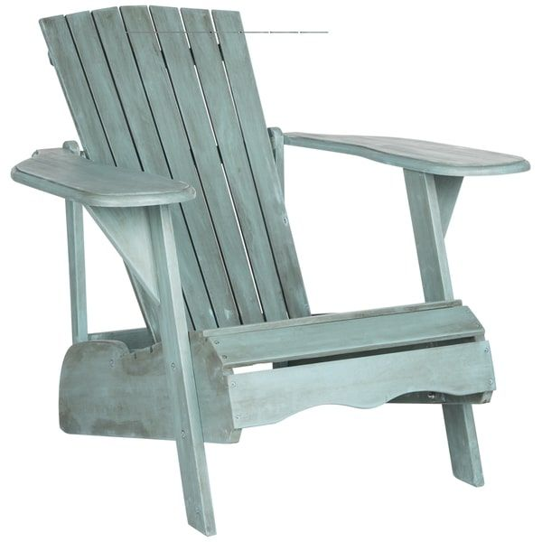 Safavieh Outdoor Living Mopani Adirondack Beach House Blue Acacia Wood Chair