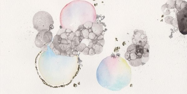 Watercolour, ink & glitter on paper  Yasmin Hackett