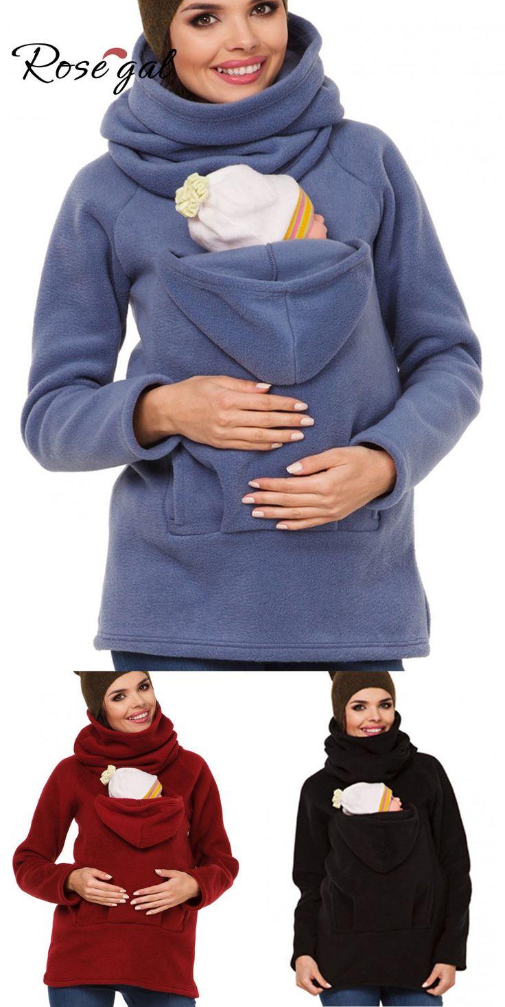 European American Fashion Maternity Dress Multi-function Kangaroo Hoodie Coat Baby Wear Jacket – Rosegal