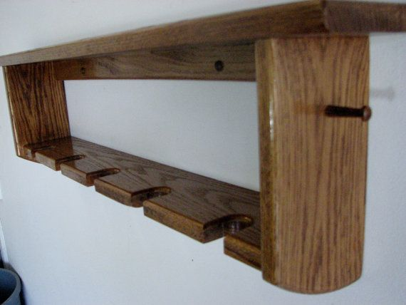 Decorative Oak Wall Shelf with Baseball Bat by oakthingsfromtenn