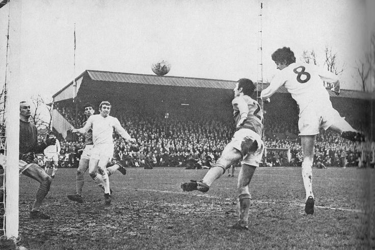 24th January 1970. Allan Clarke heading home one of his four goals against Sutton United, in the FA Cup 4th Round.