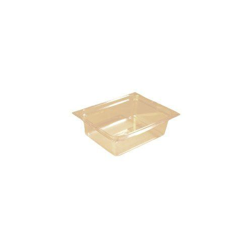 """Top Notch Half Size Food Pan, Amber, 5.6 Qt by Carlisle. $26.74. Width: 10-3/8"""". Length: 12-3/4"""". Made in USA & NSF Approved. Height: 4"""". Dishwasher safe. Carlisle Top Notch Half Size Food Pan, Amber, 5.6 QtThis half size Top Notch food pan has an easy lift spoon notch at the ends of the pan for easy removal from steam tables and recessed counters. This easy lift notch reduces direct hand to hand contact and eliminates contamination.Dishwasher safe Made in USA & NSF ..."""