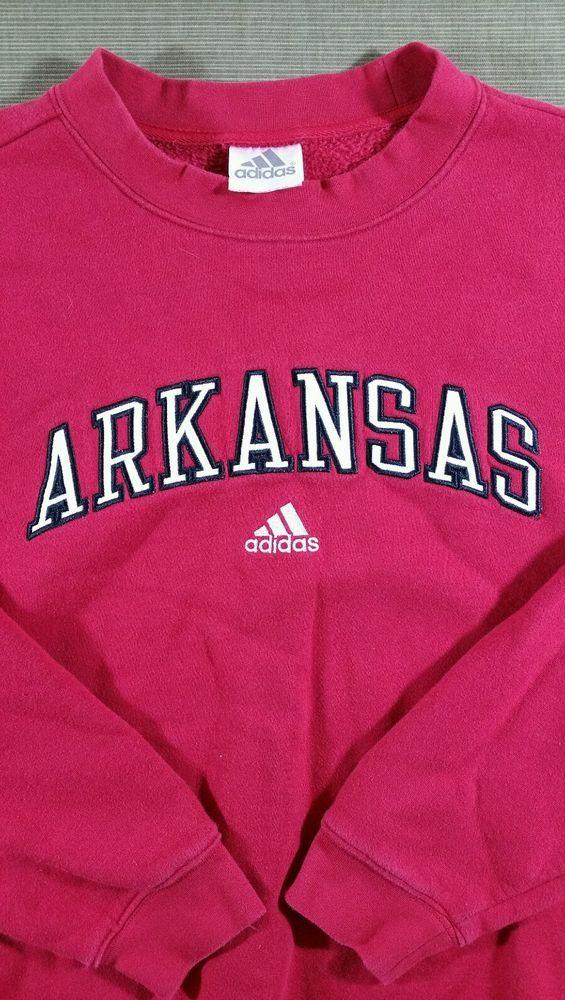 "CLASSIC ARKANSAS RAZORBACKS ""Stitched"" Sweatshirt RED Size Medium #adidas"