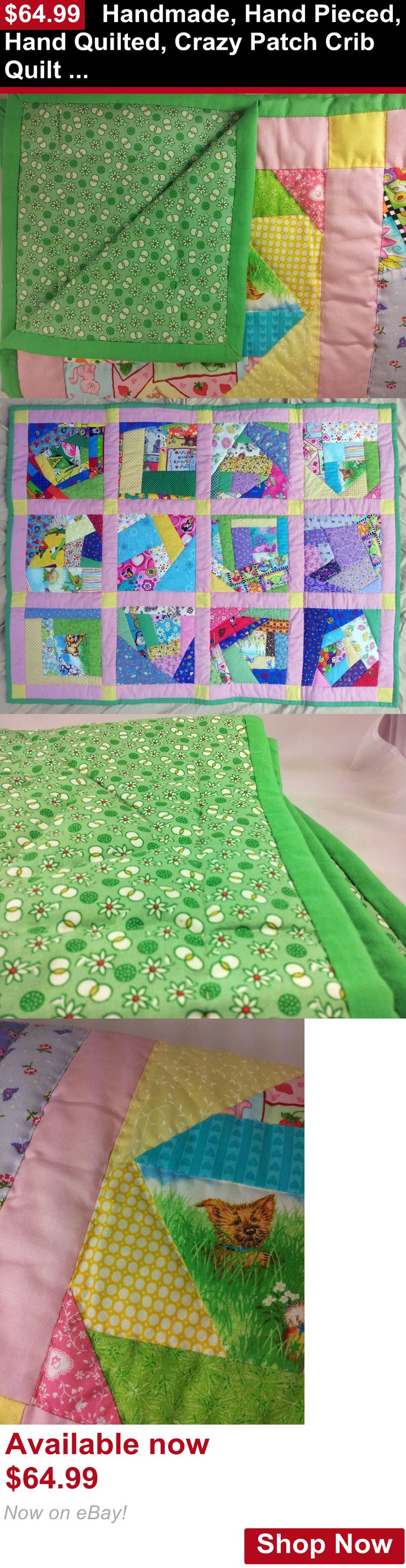 Quilts And Coverlets: Handmade, Hand Pieced, Hand Quilted, Crazy Patch Crib Quilt / Comforter On Sale BUY IT NOW ONLY: $64.99
