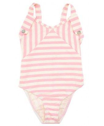 Maillot de bain une pièce pour petite fille jeu de rayures blanches et roses par Jours après Lunes #joursapreslunes #unepiece #maillotdebain #plage #enfant #mode #rayure #rose #pink