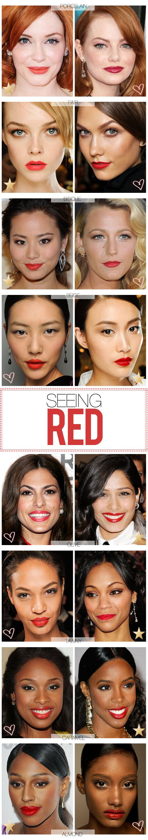 "I prefer the harmony of matching lip tones with undertones; I feel like when you walk into the room, everyone will think ""wow she looks so gorgeous"" not being able to pinpoint why, but every now and then it's fun to draw all the attention to your lips by letting the red make the statement."