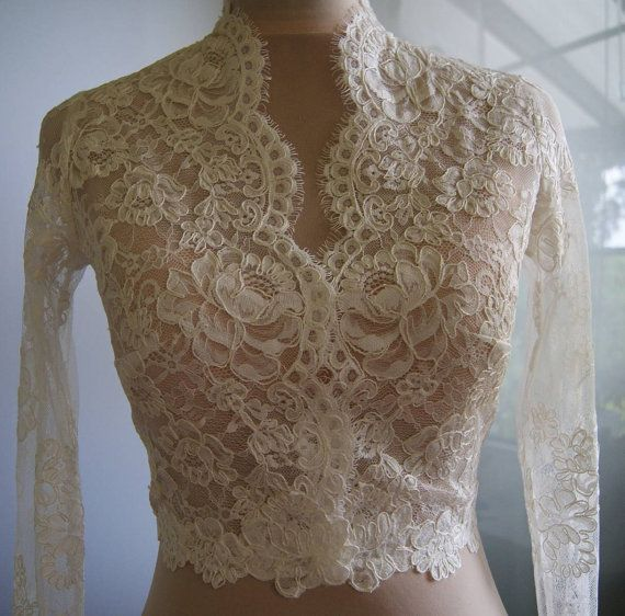 Wedding bolero-jacket with lace long sleeve 3/4 sleeve by TIFARY---Wedding perfection!!