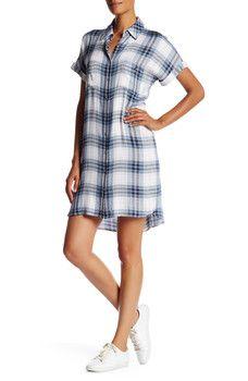 Max Studio - Short Sleeve Plaid Shirt Dress