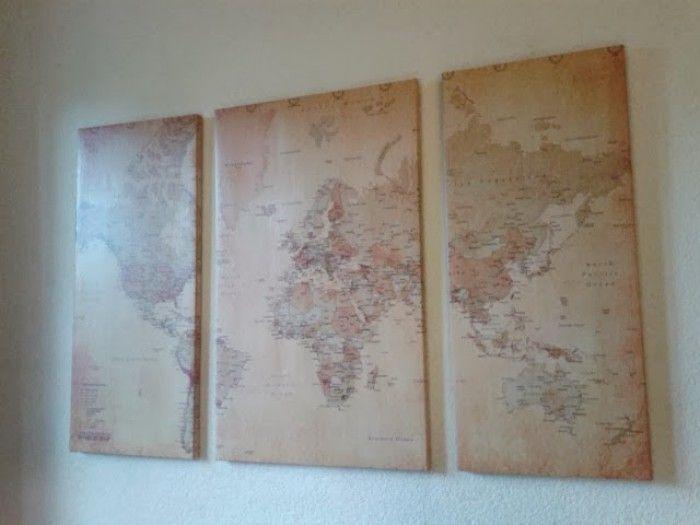 Doe het zelf: Van een (oud) Canvas een wereldkaart maken waar je bijvoorbeeld punaises in kan steken.