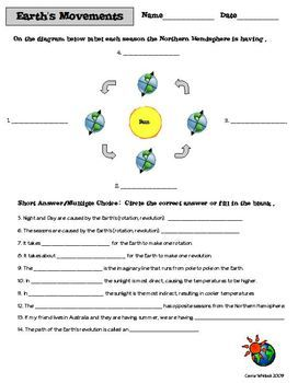 Earth's Movements Assessments - This is a great activity sheet to assess what your students have learned about the movements of the Earth and the effects it has on the seasons!  Some suggested vocabulary the students should know before doing this activity: axis, hemisphere (Northern/ Southern), summer, winter, spring, fall, orbit, rotation, revolution I included TWO versions of the sheet. #Earth #Space #Astronomy #EarthsOrbit #Science #CarrieWhitlockTpT