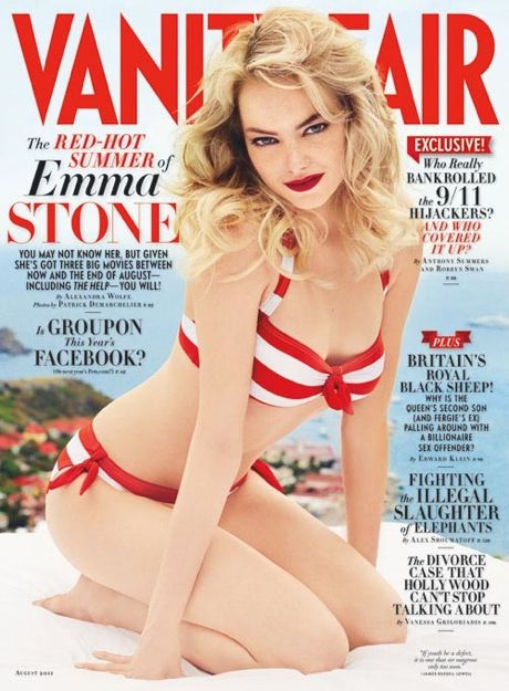 Emma Stone on the cover of Vanity Fair. Love her, the bathing suite and the fact that she doesn't fake bake to achieve oompa loompa orangey status. I love my creamy skin and she makes it just as hot here as any other perfectly bronzed chic would make a tan.