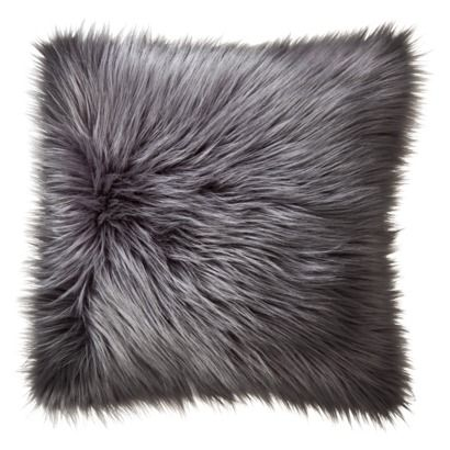 Home Fur Toss Pillow, Grey