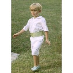 Love this white page boy outfit with a pale green sash... perfect for a Spring and a Summer wedding - design by www.littleeglantine.com