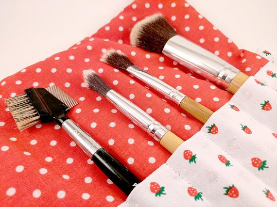 Strawberry/Red Spot Makeup Brush Roll