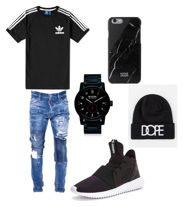 """""""Untitled #44"""" by dabbwitrayy ❤ liked on Polyvore featuring adidas, Dsquared2, Nixon, Native Union, Dope, men's fashion and menswear"""