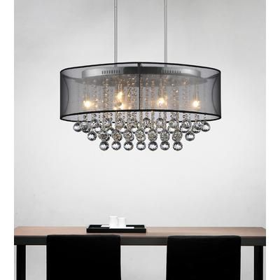 Crystal World Inc. - Oval 26 Inch Pendent Chandelier with Black Shade - 5063P26C (Clear + B) - Home Depot Canada
