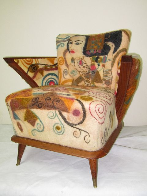 Wet felting over a chair.