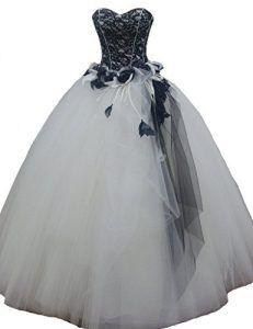 Black White Tulle Lace Satin Gothic Emo Wedding Dress