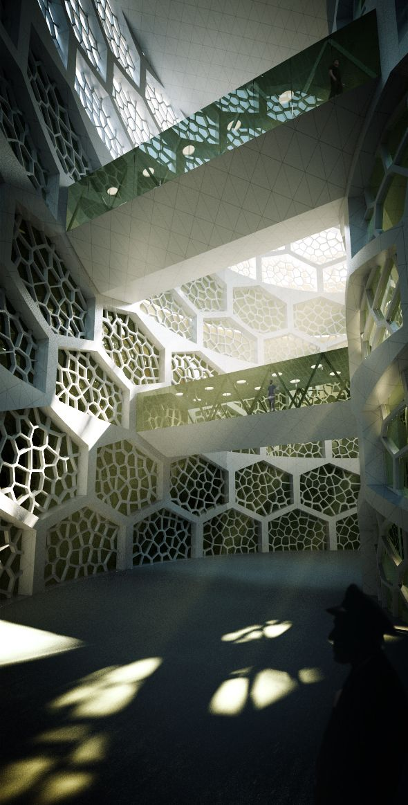 D'A+M-Claudia D'Amore-Marco Mellone-Architectural CompetitionReder-Rendering-Vray | Carved Block | View of the interior patio #dam #damarchitettibari #architecture #architecturalcompetition #architettura #architecturalmodel #architecturalrendering #render #3dmodel #vray #photoshop