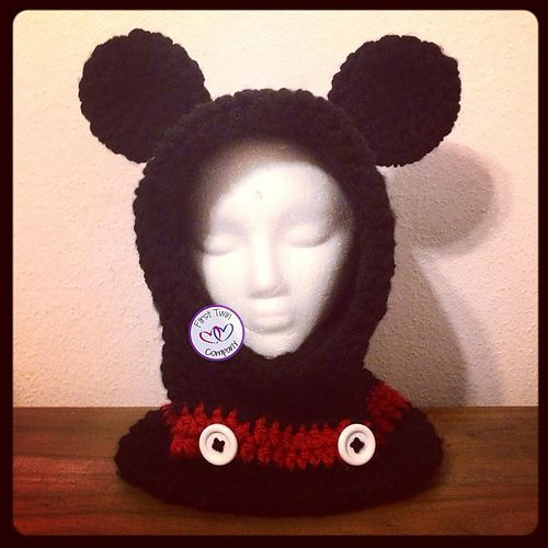 Ravelry: Mickey Mouse Inspired Hooded Cowl pattern by First Twin Company