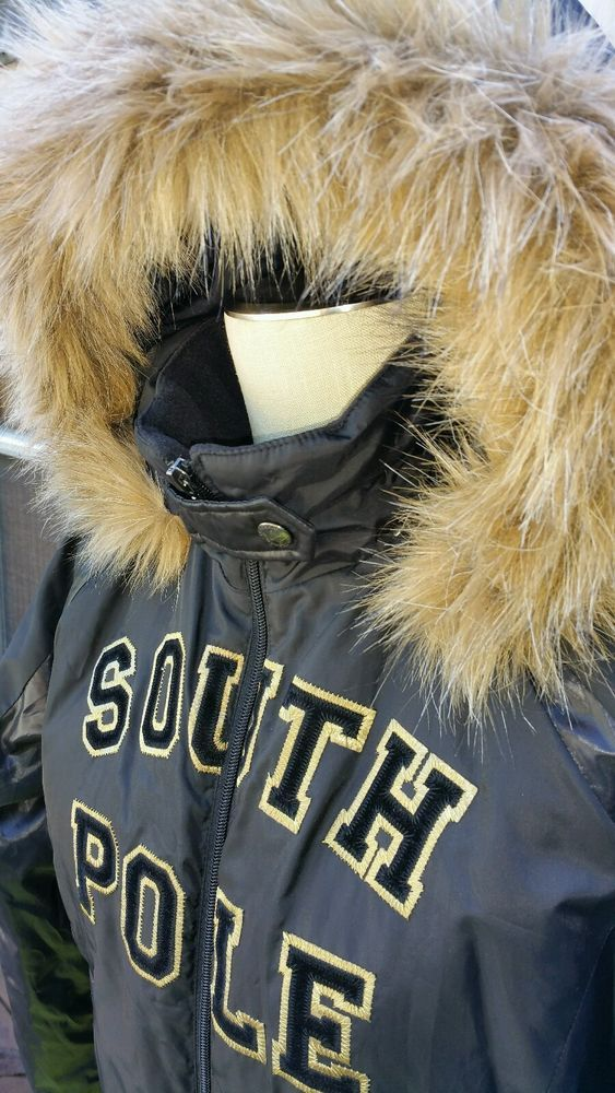 South Pole Brown Hooded Puffer Jacket Women's Coat Large Zip Up Removable Hood #Southpole #Puffer