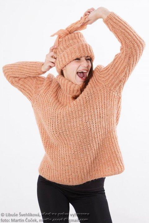 Rezavý svetr s čepicí 890001 originální hory sportovní svetr extravagantní město luxusní módní veselý vlna mohér handmade výlet vycházka šmrncovní vycházkový pulover lyžovat ruční pletení