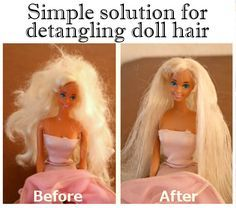 Barbie Hair Fix. How to easily untangle barbie and doll hair.