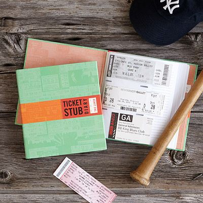 Not a vild gift without accompanying tickets to something cool.    Look what I found at UncommonGoods: ticket stub diary... for $12 #uncommongoods