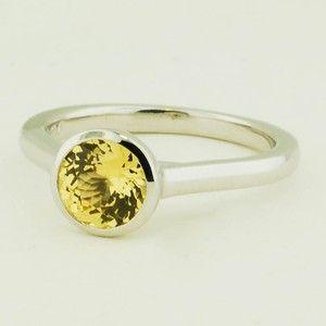 18K White Gold Sapphire Luna Ring – Set with 6.0mm Round Yellow Sri Lanka Sapphi…