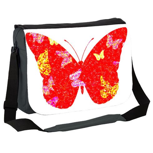 'Red Butterfly' Messenger Bag by hoganfinland @zippiuk Originating from a handpainted image this design features a flutter of painted butterflies contained within one big red butterly silhouette. #zippi #papillon #wings #insects #nature #bags #accessories #carry #design #flutter #butterflies #red #butterly #silhouette