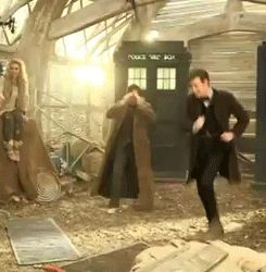 Best gif ever! Matt Smith dancing. Hahahaha I love how David Tennant is freaking out in the background.