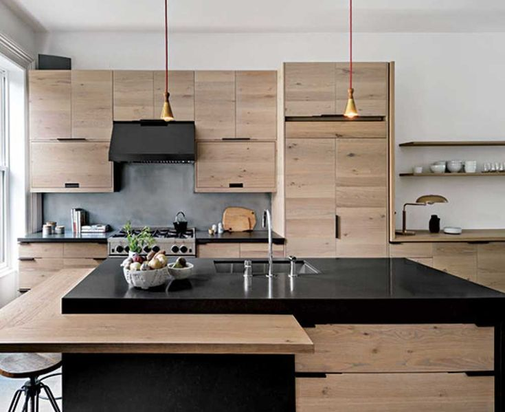 New York Modern Kitchen Design Ideas with wooden cabinet and brown marble countertop