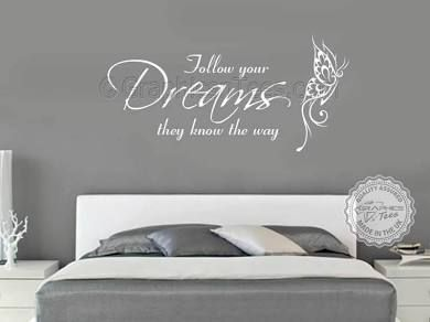 Family Wall Sticker, Inspirational Quote, Follow Your Dreams Bedroom