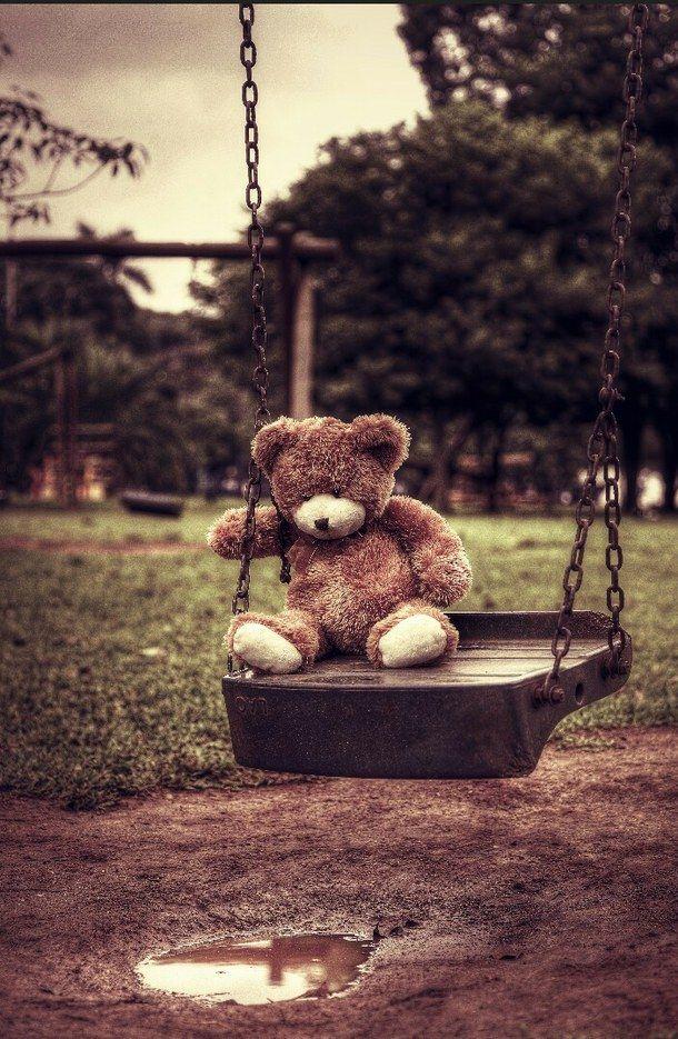 alone, bear, beautiful, brown, cute, dark, love, sad, swing, teddy bear, teedy bear