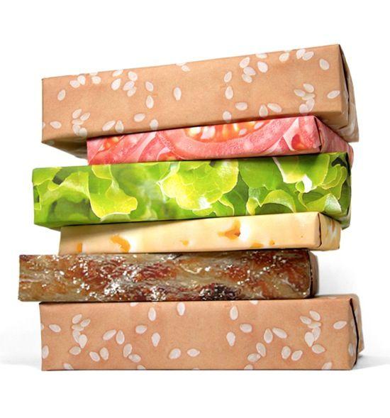 重ねるとハンバーガーになる、包み紙のアイデア。おもろいな。(via Hamburger Wrapping Paper)