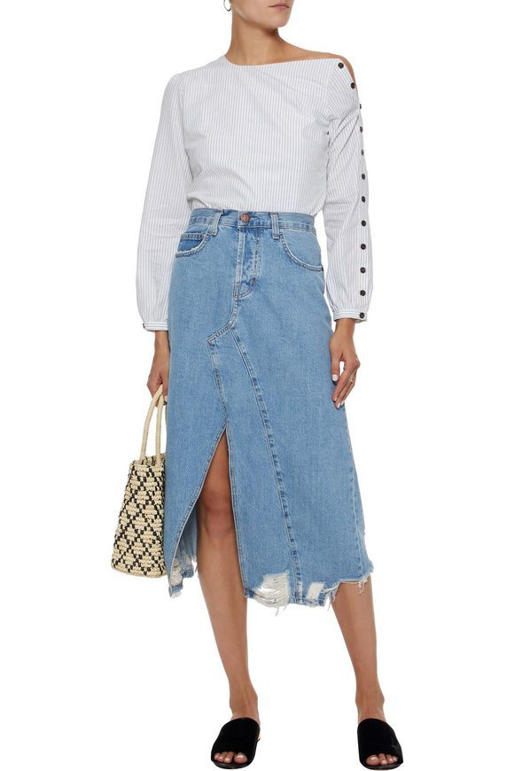 9731822323 The Recrafted distressed denim midi skirt | CURRENT/ELLIOTT | Sale up to  70% off | THE OUTNET