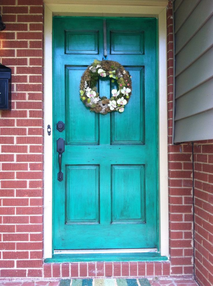 Front Door With Benjamin Moore S Emerald Forest And