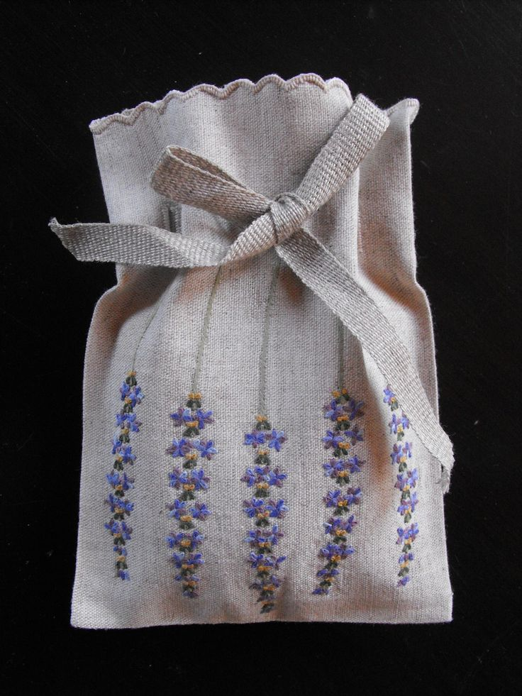 French Hand Embroidered Lavander Sachets by Vintagefrenchlinens