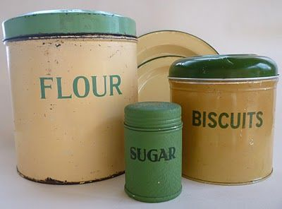 Vintage green kitchen canisters