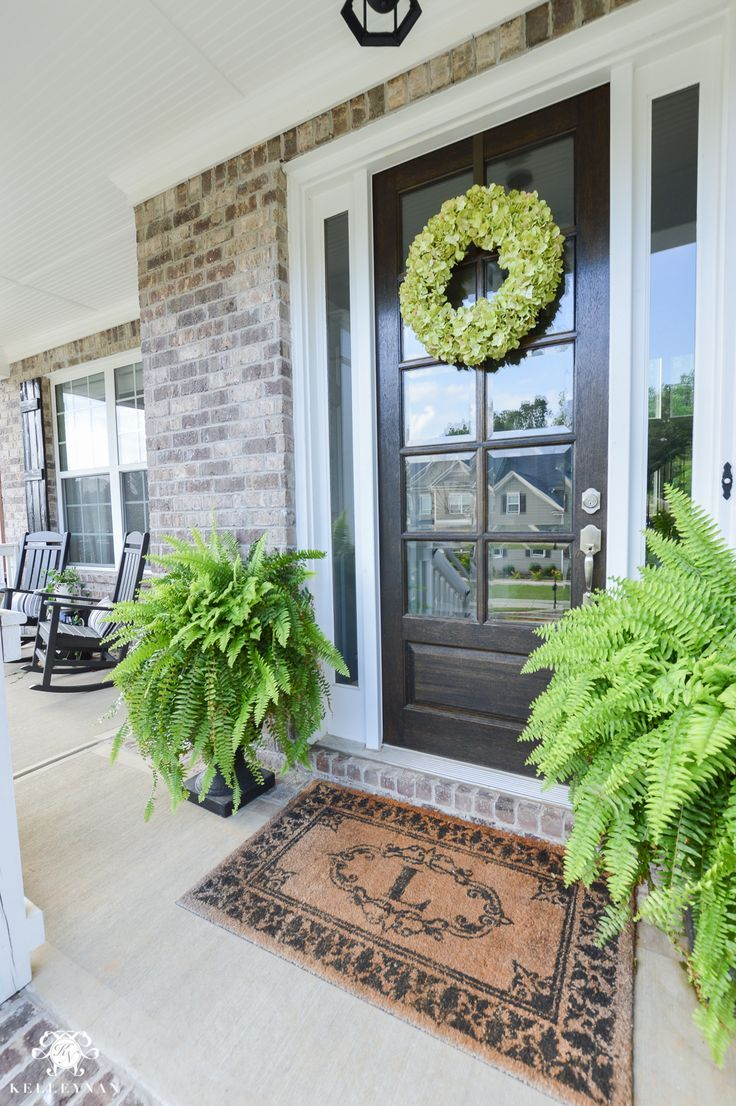 Shades of Summer Home Tour with Neutrals and Naturals- rocking chair front porch with ferns