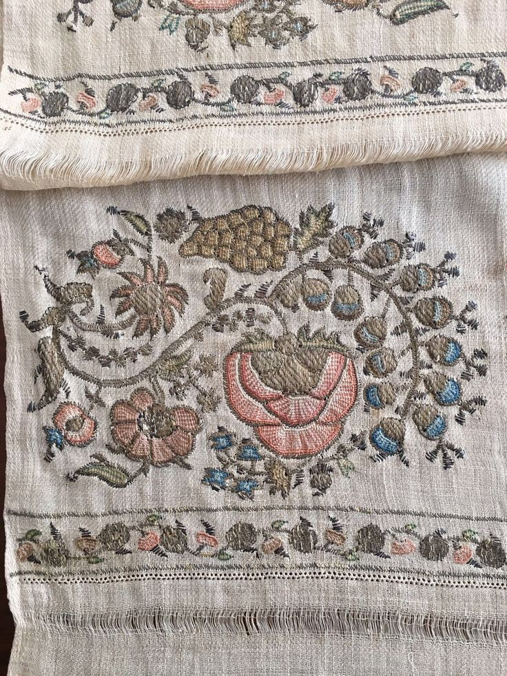 "19TH C HUGE ANTIQUE OTTOMAN-TURKISH SILK & METALLIC HAND EMBROIDERED TOWEL N4 - $1,200.00. You are viewing an attractive example of embroidery. I'm offering a lovely ""towel'' Origin: Turkey Example from the: Ottoman period Colourway of the fabric : ecru It is a hand loomed fabric.The hand embroidery is on both ends, silk and metallic thread on cotton;urban workshop. The embroidery technique counted stitches neat and worked reversible,not distinguishing between front and ..."