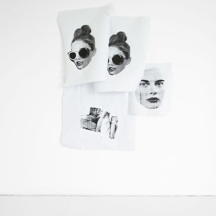 black and white fashion collage art wall / erin flannery