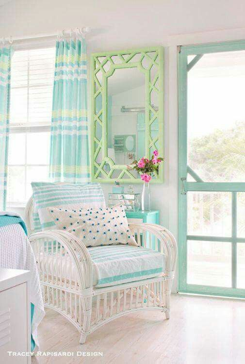 Light and airy living space with wicker and pastel colors